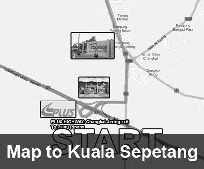 Map to Kuala Sepetang, Perak
